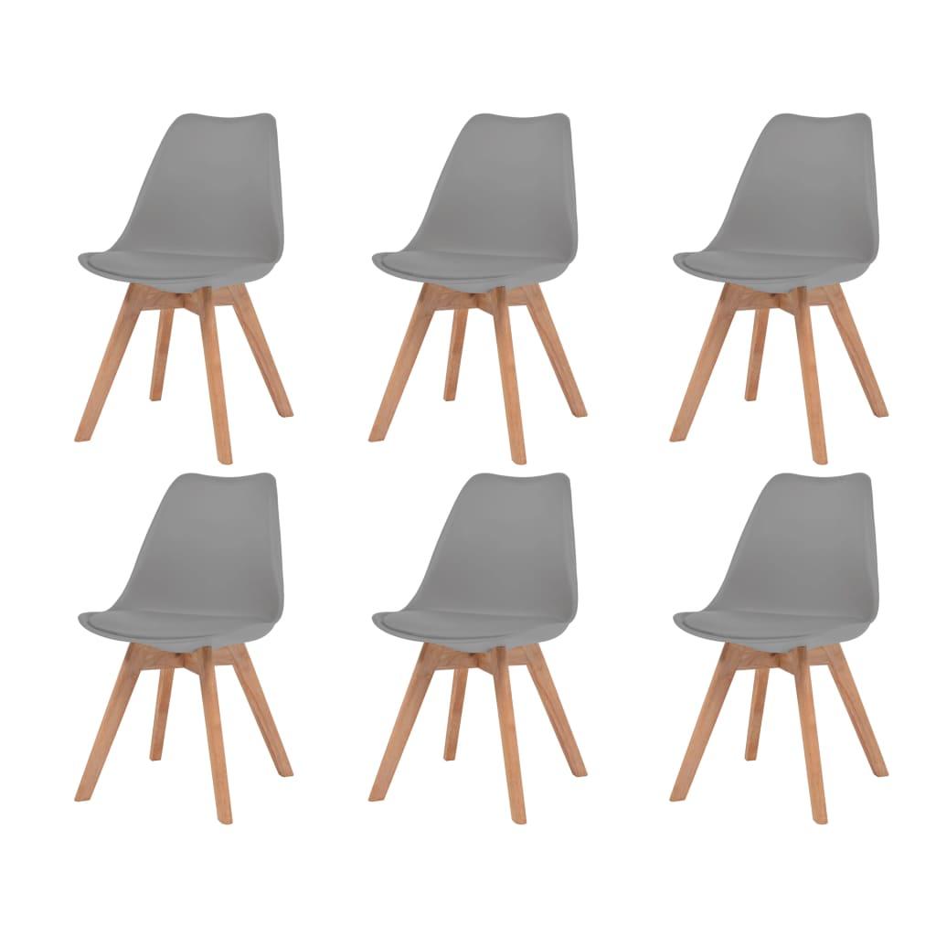 vidaXL Καρέκλες Τραπεζαρίας 6 τεμ. Γκρι Συνθετικό Δέρμα & Μασίφ Ξύλο