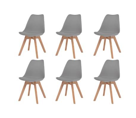 vidaXL Krzesła stołowe, 6 szt., szare, sztuczna skóra