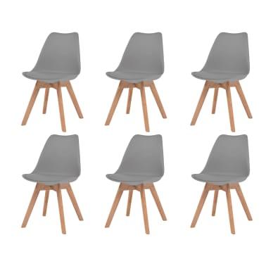 vidaXL Krzesła do jadalni, 6 szt., sztuczna skóra, lite drewno, szare[1/6]