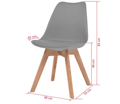 vidaXL Krzesła do jadalni, 6 szt., sztuczna skóra, lite drewno, szare[6/6]