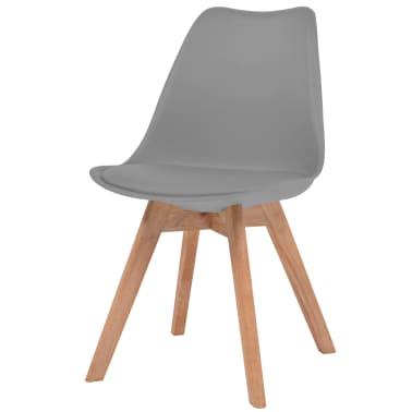 vidaXL Krzesła do jadalni, 6 szt., sztuczna skóra, lite drewno, szare[2/6]