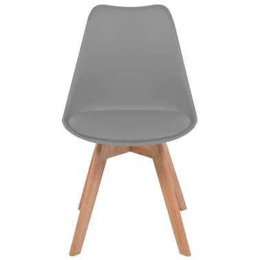 vidaXL Krzesła do jadalni, 6 szt., sztuczna skóra, lite drewno, szare[3/6]