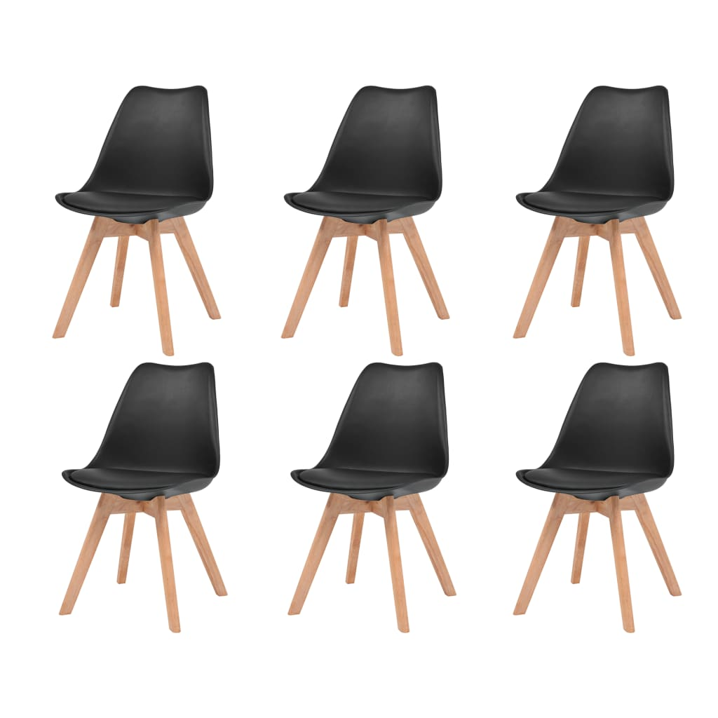 vidaXL Καρέκλες Τραπεζαρίας 6 τεμ. Μαύρες Συνθετικό Δέρμα & Μασίφ Ξύλο