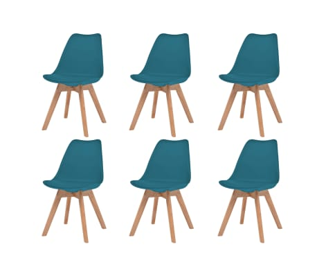 vidaXL Трапезни столове, 6 бр, тюркоаз, изкуствена кожа