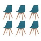 vidaXL Трапезни столове, 6 бр, изкуствена кожа, масивно дърво, тюркоаз