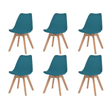 vidaXL Krzesła, 6 sztuk, sztuczna skóra, lite drewno, turkusowe[1/6]