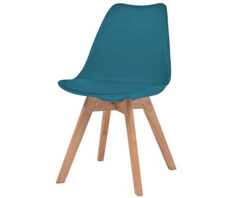 vidaXL Krzesła, 6 sztuk, sztuczna skóra, lite drewno, turkusowe[2/6]