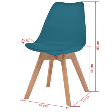vidaXL Krzesła, 6 sztuk, sztuczna skóra, lite drewno, turkusowe[6/6]