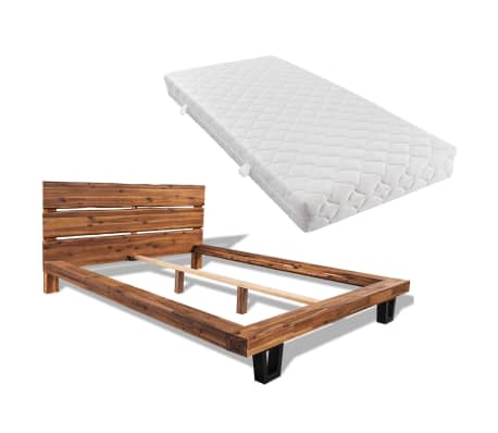 vidaXL Bed met matras massief acaciahout 140x200 cm[1/11]
