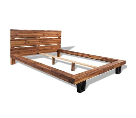 vidaXL Bed met matras massief acaciahout 140x200 cm[2/11]