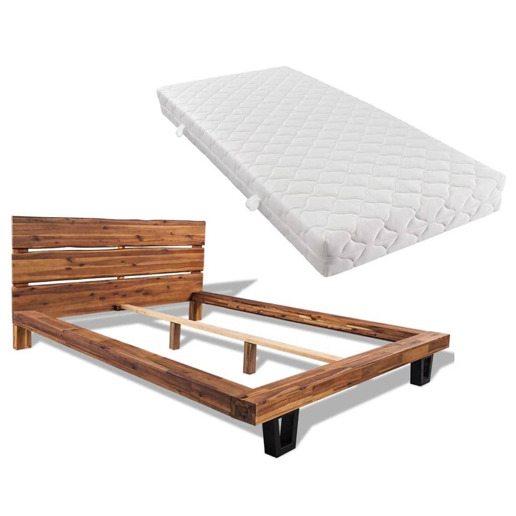 vidaXL Pat cu saltea, 180 x 200 cm, lemn masiv de acacia vidaxl.ro