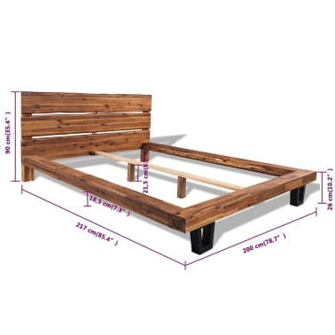 vidaXL Lova su čiužiniu, tvirta akacijos mediena, 180x200cm[11/11]