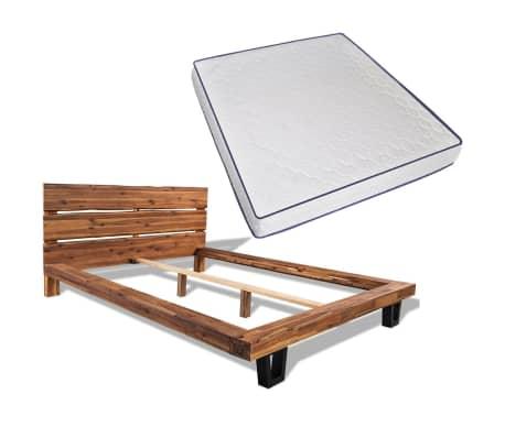 vidaXL Lova su Memory čiužiniu, masyvi akacijos mediena, 180x200cm[1/13]