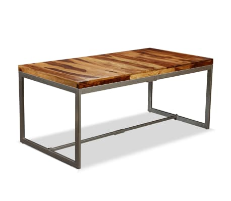 vidaXL Dining Table Solid Sheesham Wood and Steel 180 cm