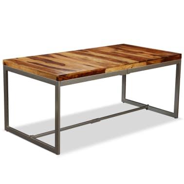 vidaXL Masă de bucătărie, lemn masiv de sheesham și oțel, 180 cm[1/14]