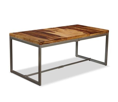 vidaXL Masă de bucătărie, lemn masiv de sheesham și oțel, 180 cm[11/14]