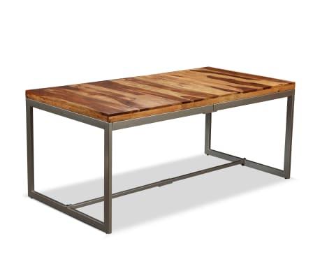vidaXL Masă de bucătărie, lemn masiv de sheesham și oțel, 180 cm[12/14]