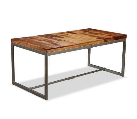 vidaXL Masă de bucătărie, lemn masiv de sheesham și oțel, 180 cm[13/14]