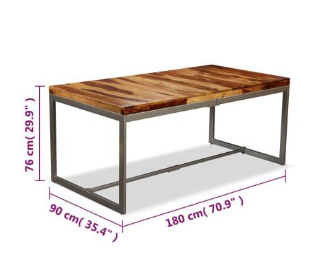 vidaXL Masă de bucătărie, lemn masiv de sheesham și oțel, 180 cm[9/14]