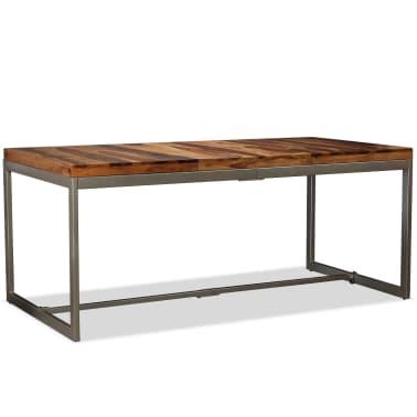 vidaXL Masă de bucătărie, lemn masiv de sheesham și oțel, 180 cm[14/14]