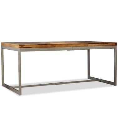 vidaXL Masă de bucătărie, lemn masiv de sheesham și oțel, 180 cm[3/14]