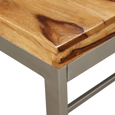 vidaXL Masă de bucătărie, lemn masiv de sheesham și oțel, 180 cm[4/14]