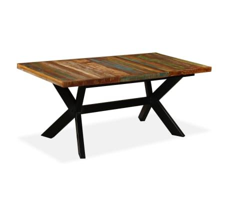 vidaXL Table de salle à manger Bois massif recyclé Acier 180 cm