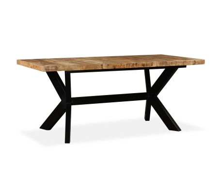 "vidaXL Dining Table Solid Mango Wood and Steel Cross 70.9""[13/14]"