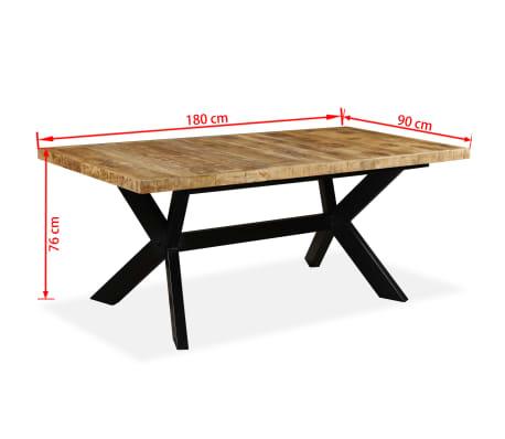 vidaXL Masă de bucătărie lemn masiv de mango și oțel 180 cm[14/14]