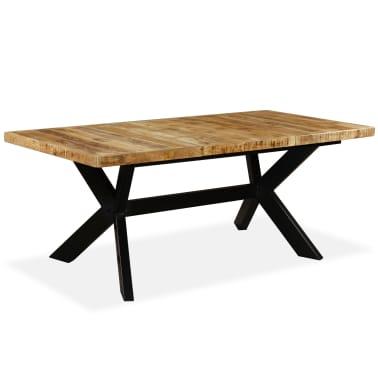 "vidaXL Dining Table Solid Mango Wood and Steel Cross 70.9""[12/14]"