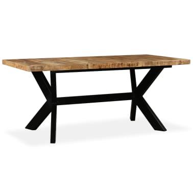 vidaXL Masă de bucătărie lemn masiv de mango și oțel 180 cm[13/14]