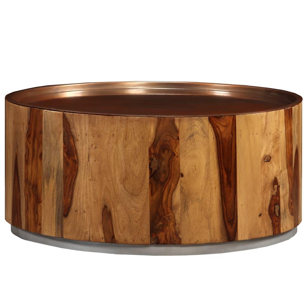 vidaXL Konferenční stolek, masivní sheeshamové dřevo a ocel, 68 cm