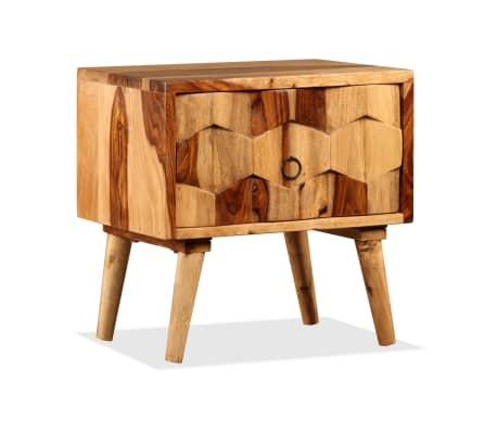 vidaXL Sängbord med 1 låda massivt sheshamträ