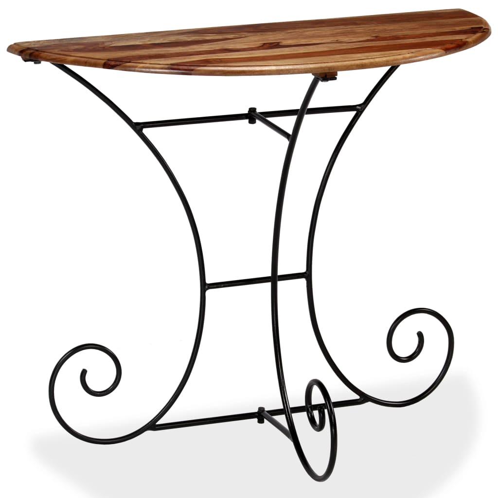 vidaXL Konzolový stolek z masivního sheeshamu polokulatý 90x45x75 cm