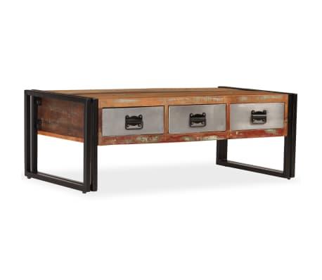 vidaXL Kavos staliukas su 3 stalčiais, perdirbta mediena, 100x50x35 cm[11/16]
