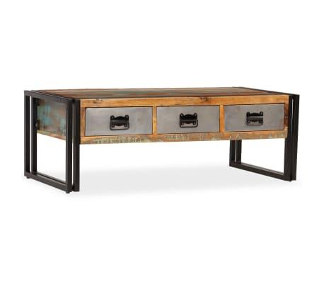 vidaXL Konferenční stolek s 3 zásuvkami recyklované dřevo 100x50x35 cm[12/16]