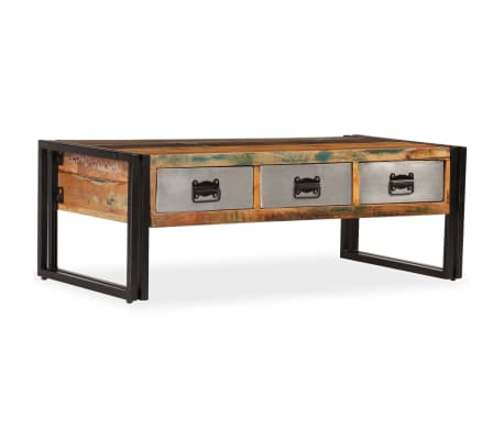 acheter vidaxl table basse avec 3 tiroirs bois de r cup ration 100x50x35 cm pas cher. Black Bedroom Furniture Sets. Home Design Ideas