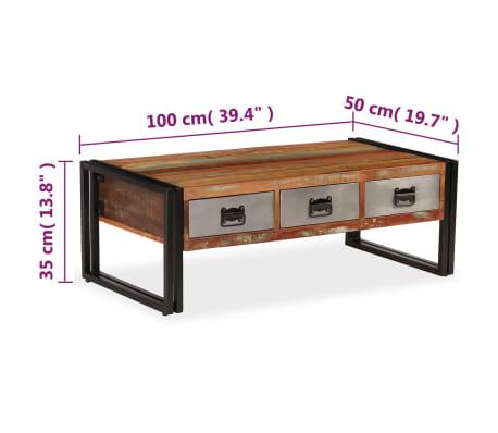 vidaXL Kavos staliukas su 3 stalčiais, perdirbta mediena, 100x50x35 cm[9/16]