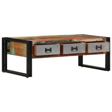 vidaXL Konferenční stolek s 3 zásuvkami recyklované dřevo 100x50x35 cm[2/16]