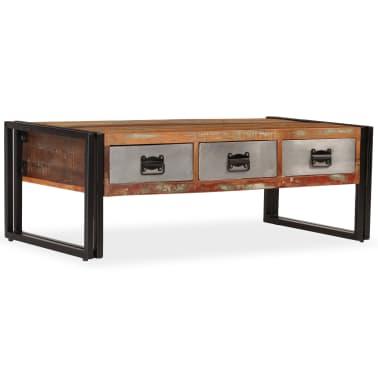 vidaXL Konferenční stolek s 3 zásuvkami recyklované dřevo 100x50x35 cm[11/16]