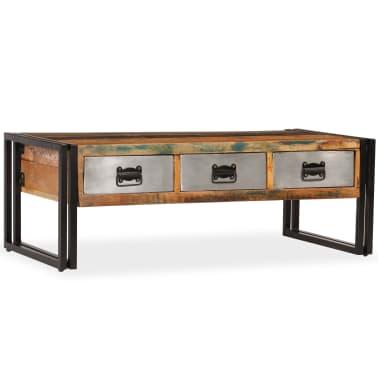 vidaXL Konferenční stolek s 3 zásuvkami recyklované dřevo 100x50x35 cm[13/16]