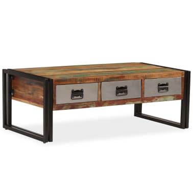 vidaXL Kavos staliukas su 3 stalčiais, perdirbta mediena, 100x50x35 cm[15/16]