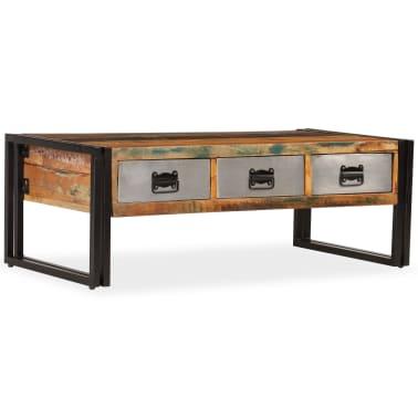 vidaXL Konferenční stolek s 3 zásuvkami recyklované dřevo 100x50x35 cm[16/16]