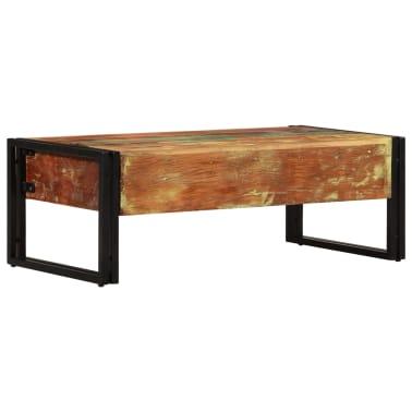 vidaXL Kavos staliukas su 3 stalčiais, perdirbta mediena, 100x50x35 cm[4/16]