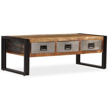 vidaXL Konferenční stolek s 3 zásuvkami recyklované dřevo 100x50x35 cm[10/16]