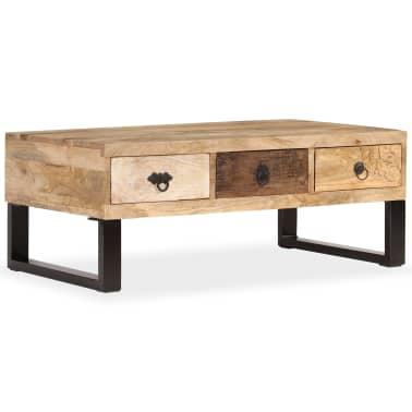 vidaXL Kavos staliukas su 3 stalčiais, mango mediena, 90x50x35 cm[1/15]