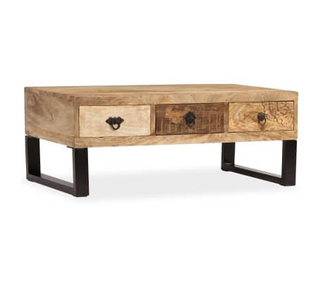 vidaXL Kavos staliukas su 3 stalčiais, mango mediena, 90x50x35 cm[13/15]