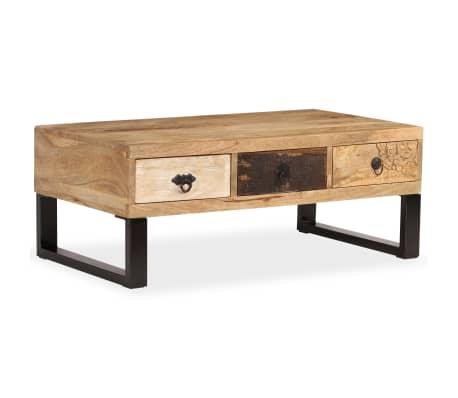 vidaXL Kavos staliukas su 3 stalčiais, mango mediena, 90x50x35 cm[14/15]