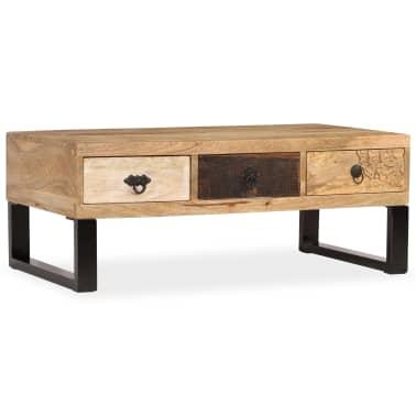 vidaXL Kavos staliukas su 3 stalčiais, mango mediena, 90x50x35 cm[15/15]