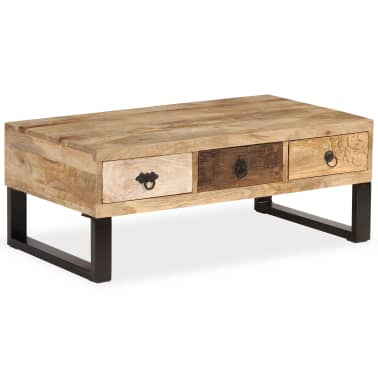 vidaXL Kavos staliukas su 3 stalčiais, mango mediena, 90x50x35 cm[9/15]